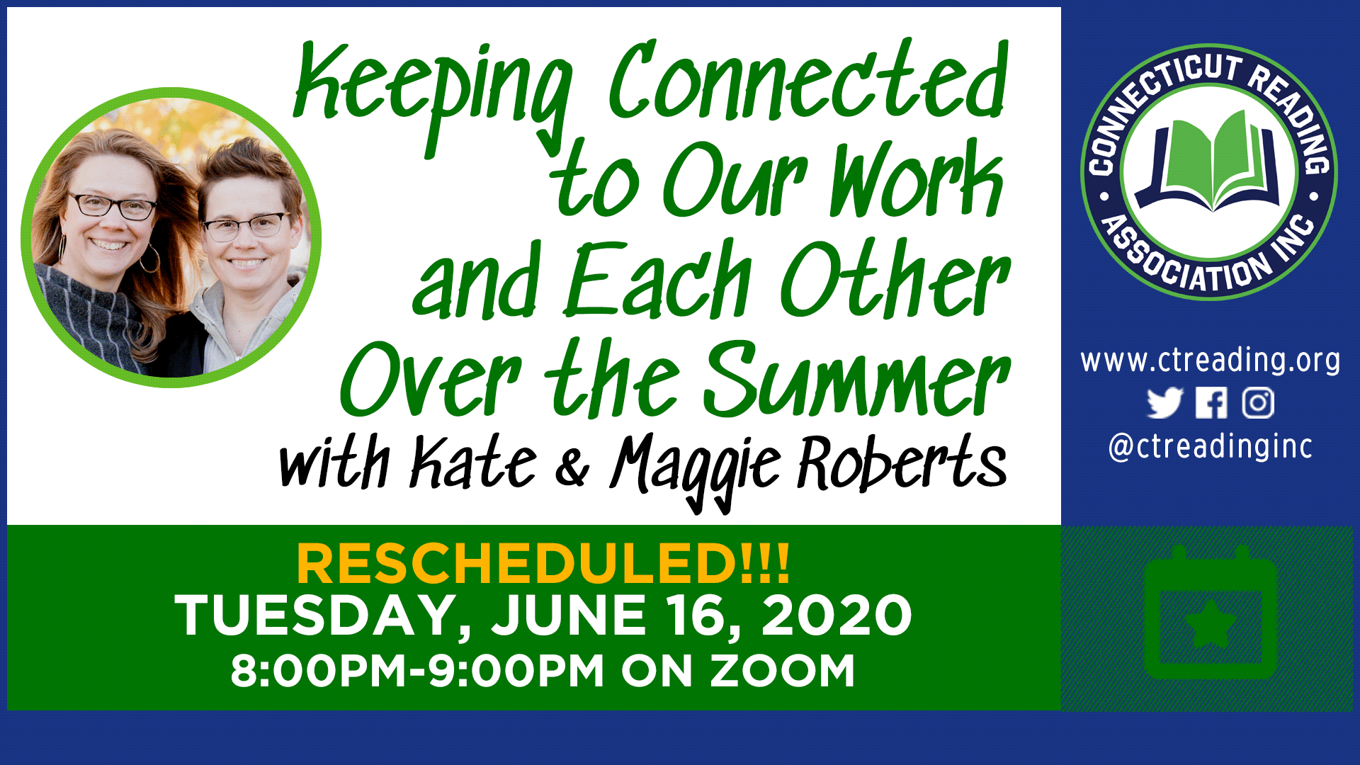 Keeping Connected to Our Work and Each Other Over the Summer with Kate & Maggie Roberts – on ZOOM!
